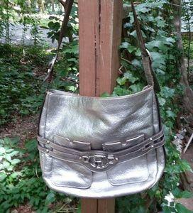 Etienne Aigner Silver Leather Shoulder Bag